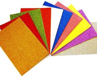 Glitter Foam Sheets, A4, 10 Sheets assorted colours