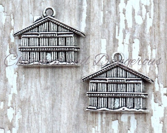 10 Pewter Barn charms (CM248)