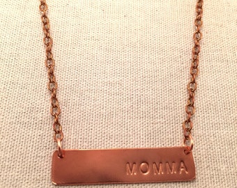 """Copper """"Momma"""" bar necklace"""