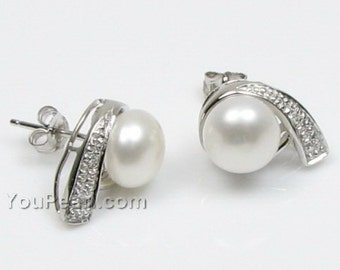 7-8mm white pearl stud earrings, natural freshwater button shape pearl studs,unique design 925 sterling silver earrings wholesale, F1110-WE