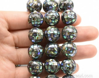 Abalone round beads, 14mm mosaic inlaid paua shell bead, round ball shape, natural abalone shell loose beads on sale, super quality, ABA2020