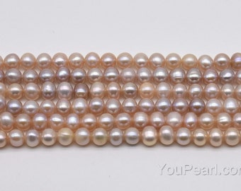 Lavender pearl, fresh water pearl, 5-6mm potato loose real pearl beads strand, natural color small pearls, FP300-LS