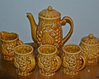 Vintage Coffee Set, Amber Coloured Coffee Service, Mid Century
