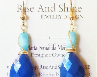 Blue, turquoise and gold earrings, teardrop earrings, wire wrapped earrings, bridesmaid jewelry