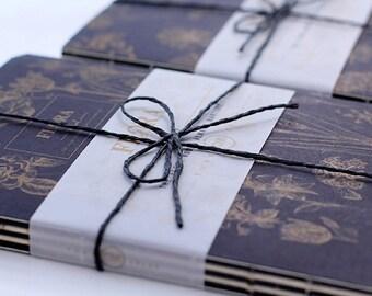 Cute Botanical Blank Notebooks, Sketchbooks, Monochrome Notebooks, Black White Notebook, Flowers