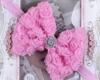 Baby Girls Rose Flower Bow Hairband Soft Elastic Headband Hair Accessories PINK