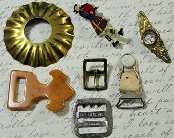 Antique Trinket Destash-Lot #1-Vintage treasure lot-This and That-Crafting and upcycling pieces-Antique mini pieces-On Sale-Save 2.00