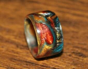 Acrylic Ring Hand turned size 9.5 u.s.