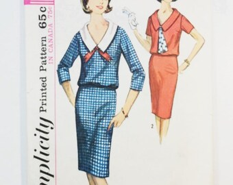 60s Dress Pattern | Simplicity 5786 Misses Two Piece Dress | 1964 Sewing Pattern