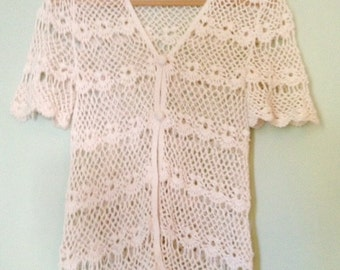 Handmade, crocheted, vintage, cardigan,boho chic,crochet, festival, women's medium/large, 80s,90s