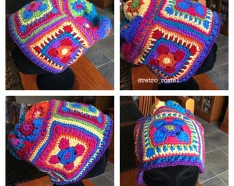 Handmade crocheted slouchy beanie in original pattern and design