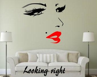 Woman Face Eyes Lips make up hear beauty salon shop spa wellness wall window Sticker vinyl decor Decals decoration decal cheap Removable