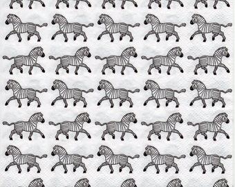 Decoupage Paper Napkins African Zebras Black (1x Napkin) - ideal for Decoupage, Collage, Mixed Media, Crafts