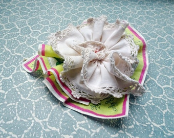 Large brooch made from vintage hankies