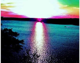 Lake Travis Sunset, Lakeway, Austin, Texas, Lake Landscape, Nautical,  Art Photography