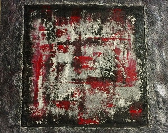 Heavy Textured Abstract Painting (no framing needed)-Red, black, white