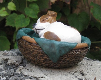 Jack Russell puppy 'sleeping in his basket' ornament ~ Hand painted