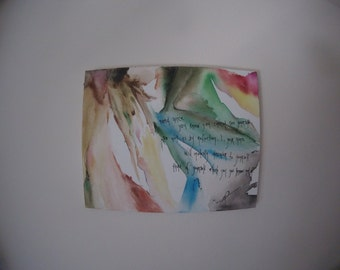 Abstract Watercolor Canvas featuring Shakespearean Quote