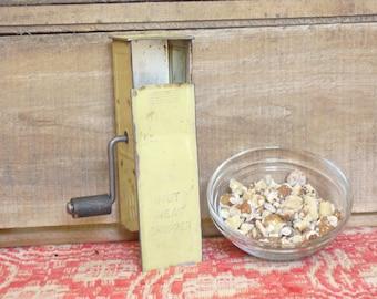 Vintage Green Metal Nut Meat Chopper and Grinder, Rustic Kitchen Gadget, Farmhouse Kitchen Utensils, Primitive Kitchen Utensil, Kitchen Tool