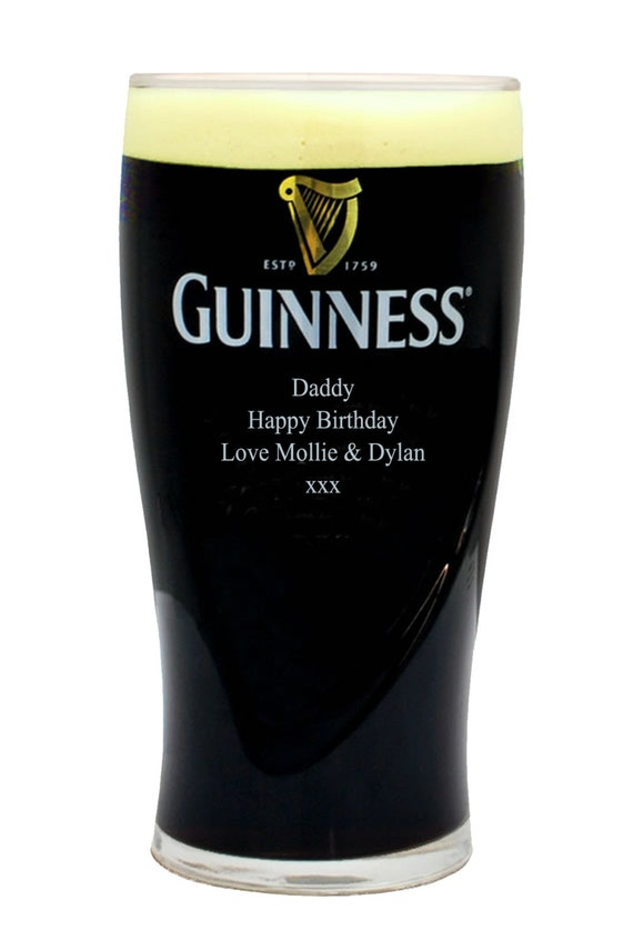 Custom Engraved Guinness Infinity Pint Glass Personalized