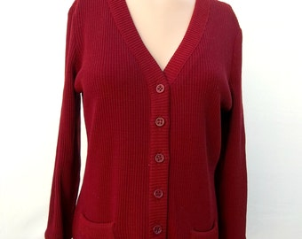 Vintage cardigan, classic retro sweater, early 1980's v-neck, long sleeved dark red sweater by Act III, eighties fashion, hipster,