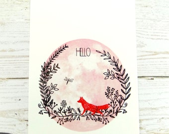Hello Cute Fox Stationary Postcard