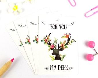 Boho Floral Deer Gift Wrap Tags Pack of 8
