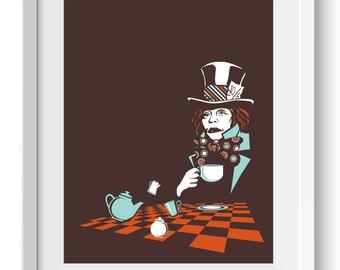 Mad Hatter Art Print, Alice in Wonderland Art Print, original mad hatter art