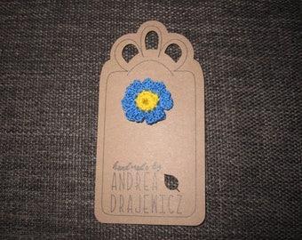 Blue bachelor button brooch, lapel pin