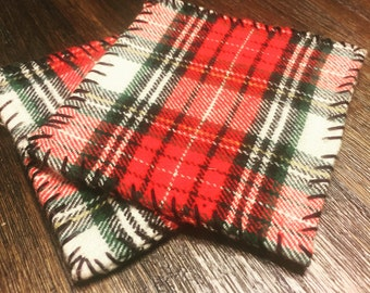 Hand-Sewn Flannel Coasters (Set of 4)