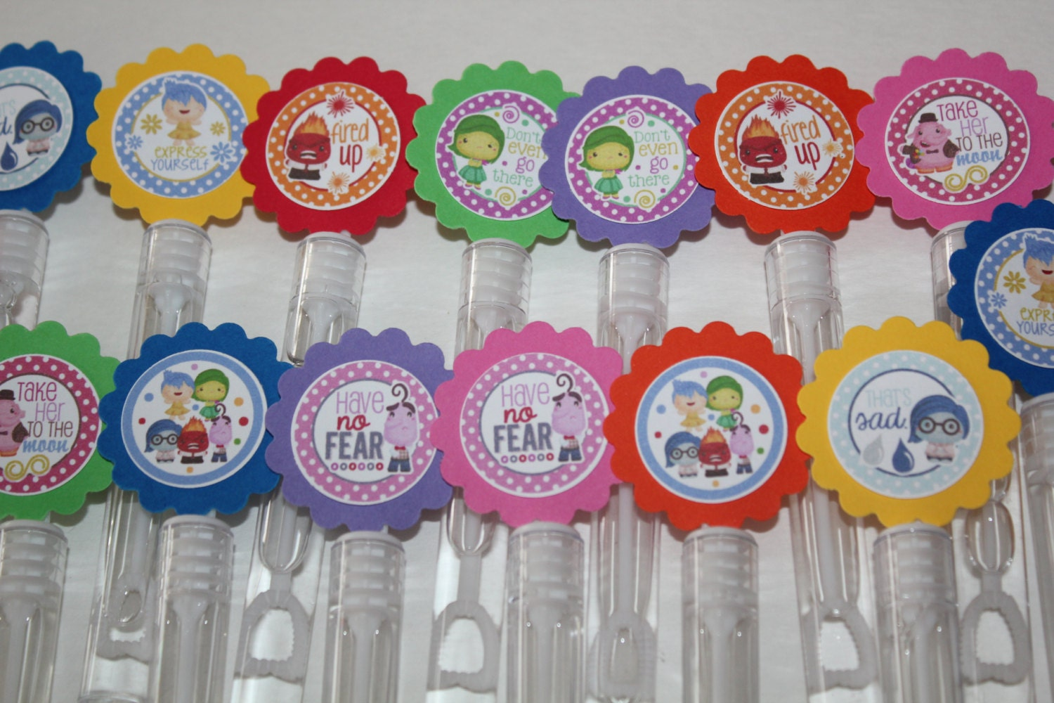 Inside out inspired mini bubble wands birthday party favors for Mini bubble wands