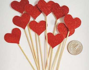 Cupcake Topper Heart Glitters,  Cake Topper for wedding , anniversaries, engagement, special occasions