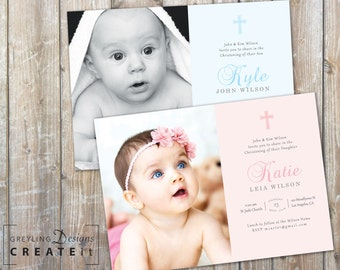Printable Baptism Invite, Baptism invitation for Boy or Girl, Christening Invitation