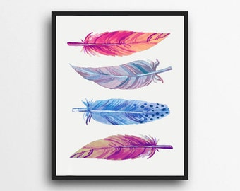 Watercolor Feather Print | Feather Art | Feather Wall art | Tribal Decor | Woodland Decor | Digital Download