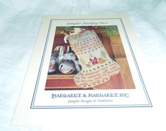 Counted Cross Stitch Pattern, Christmas Stocking, Sampler Stocking Two by Margaret & Margaret 1993