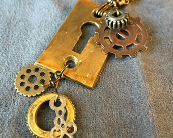 Brass Keyhole with Gears Necklace