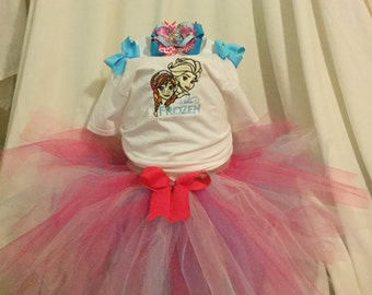 Frozen tutu outfit, pink and blue tutu outfit