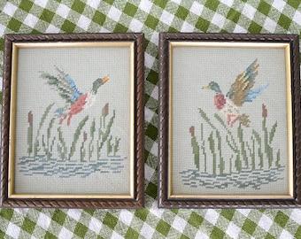 Vintage Framed Duck Cross Stitch - Set of 2