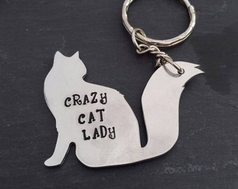 Cat keyring personalised handstamped - crazy cat lady - cat gift - cat lover
