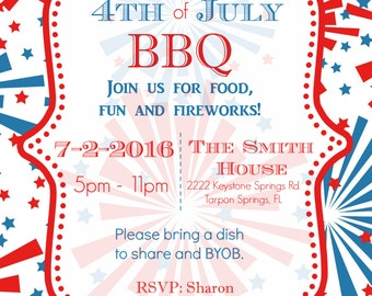 4th of July BBQ Party Invite - Custom - Printable