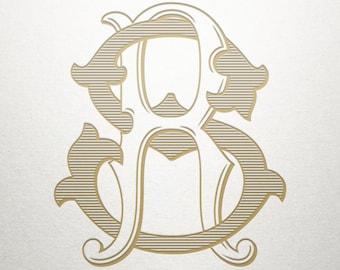 Wedding Printable Monogram - RS SR - Printable Monogram - Vintage