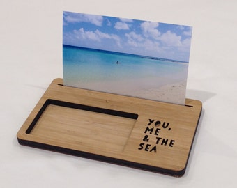 Photo Stand - You, Me & the Sea - Photo Holder, Desk Caddy, Memory Holder, Quote Display, made from Bamboo