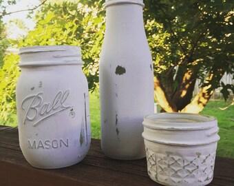 White Distressed Painted Jars-Set of 3