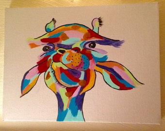 Hand Painted Colorful/Rainbow Giraffe