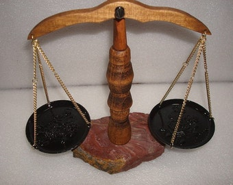 """Hardwood, Brass, And Granite Scales Of Justice / Balancing Scale, Usable 9"""" Tall"""