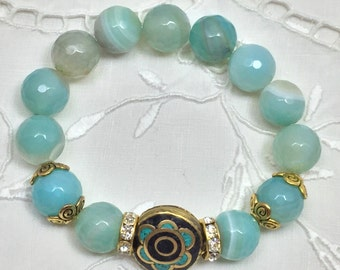 Blue Green Faceted Amazonite Bead Bracelet