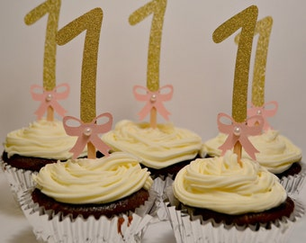 Pink and Gold Birthday Cupcake Toppers. First Birthday Cupcake Toppers.