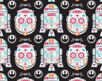 Sugar Skulls Star Wars Fabric with C3P0 and R2D2 - by Camelot Fabrics
