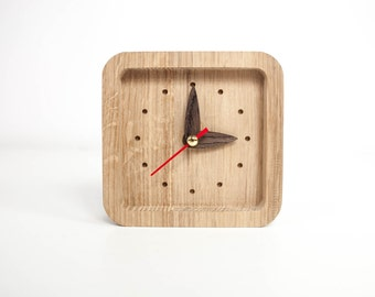 Small wooden desk clock - Unique oak wood clock - Square shape table clock - Natural wood table clock - Exclusive business gift with logo