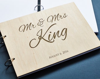 Rustic Wedding Guest Book Initial, Personalized Guest Book, Wooden Guest Book, Engraved